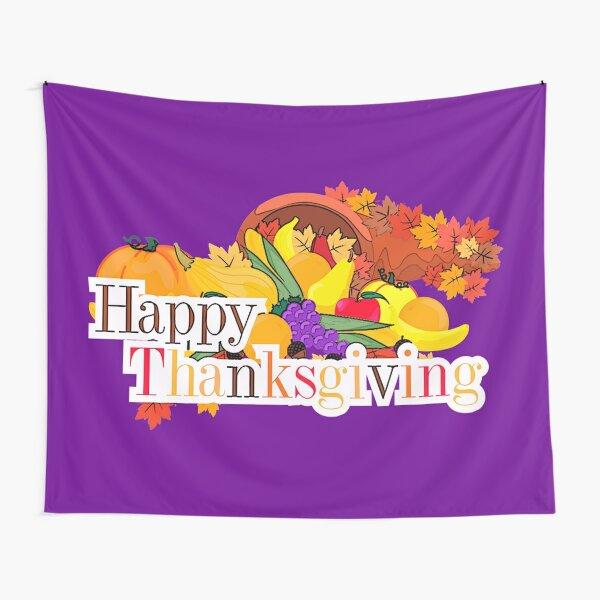 Happy Thanksgiving Cornucopia Autumn Harvest Tapestry