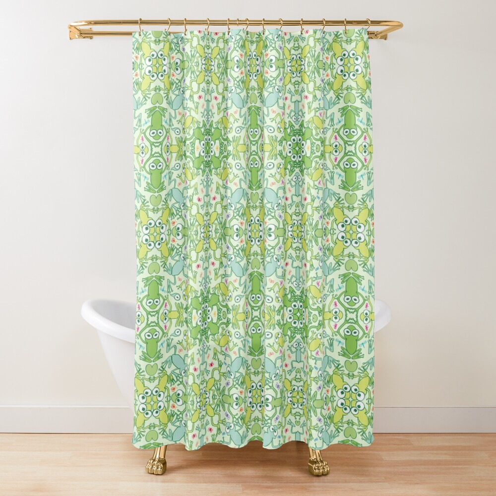 Frogs in every corner of this slimy pattern design Shower Curtain