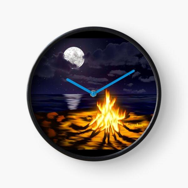 Bonfire at the Beach Clock
