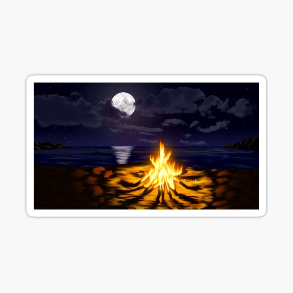 Bonfire at the Beach Sticker