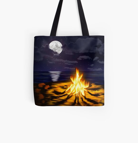 Bonfire at the Beach All Over Print Tote Bag