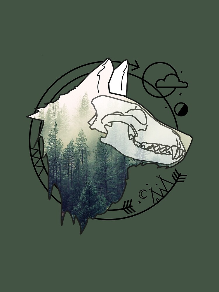 Wolf animal forest totem skull art by masatomio