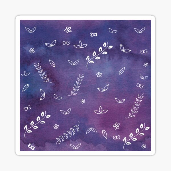 Purple Violet Watercolor Floral Cute Illustrations Art Sticker