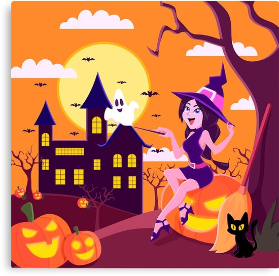Witchy Woman Haunted Halloween Canvas Print - Halloween Wall Decor