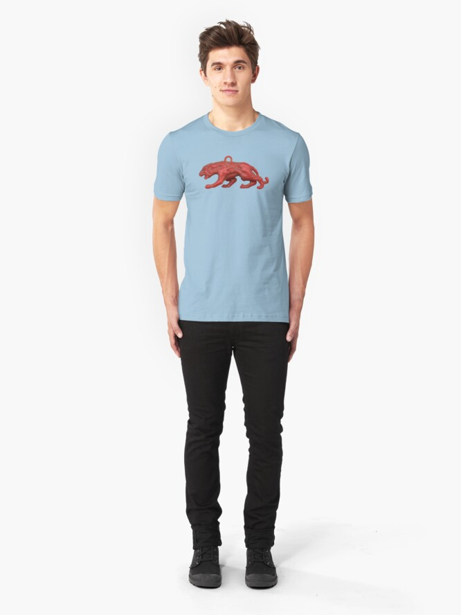 Alternate view of Red panther on blue grass Slim Fit T-Shirt