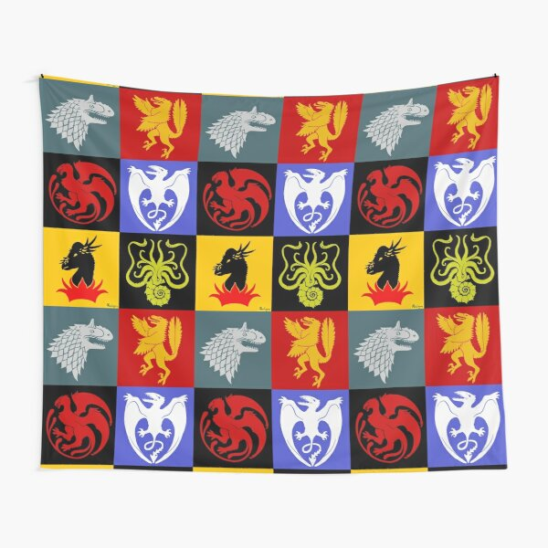 Coat of Arms Collage . Game  of Thrones with dinosaurs Tapestry
