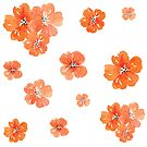 Little Orange Watercolor Flowers Set Pack by ApricotBlossom