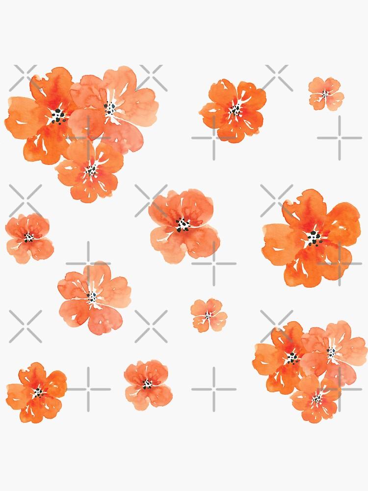 Little Orange Watercolor Flowers Set Pack by ApricotBlossom