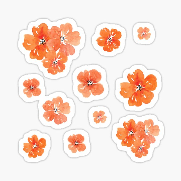 Little Orange Watercolor Flowers Set Pack Sticker
