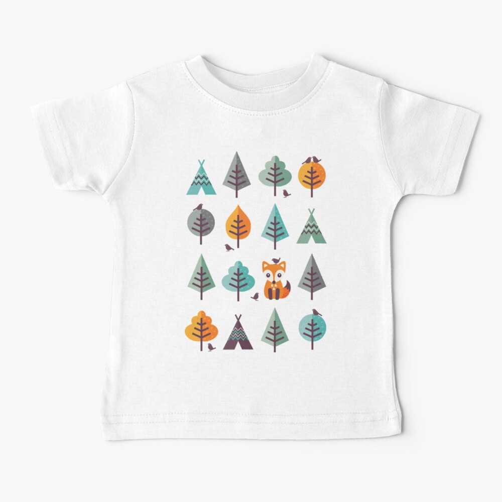 Fox in the Forest - on Gray Baby T-Shirt