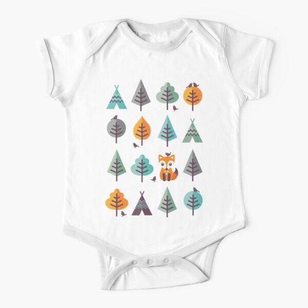 Fox in the Forest - on Gray Short Sleeve Baby One-Piece