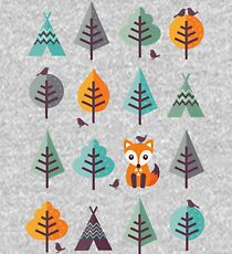 Fox in the Forest - on Gray Kids Pullover Hoodie
