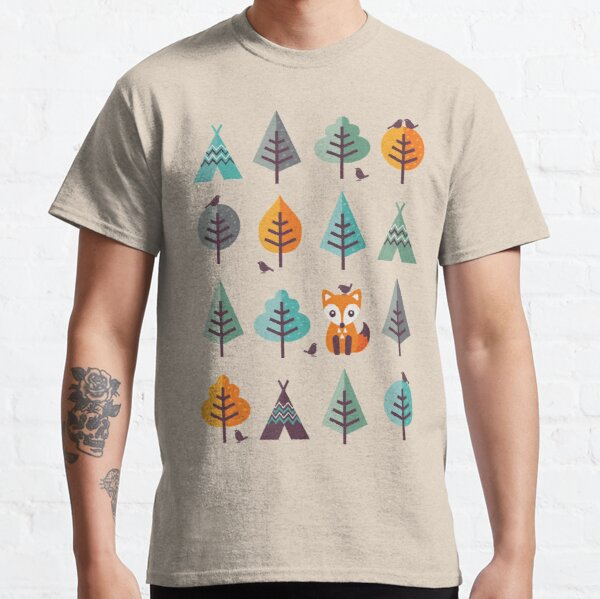 Fox in the Forest - on Gray Classic T-Shirt