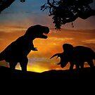 T Rex und Triceratops Dinosaurier bei Sonnenuntergang von Stephanie Laird