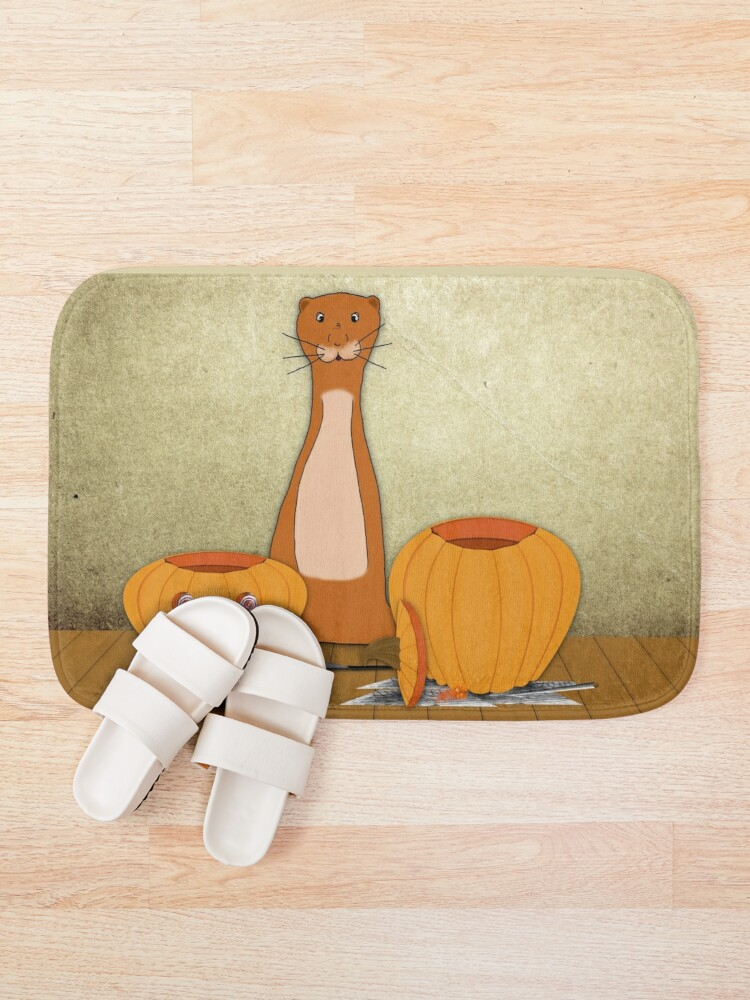 Alternate view of Oliver The Otter Carves a Pumpkin Bath Mat