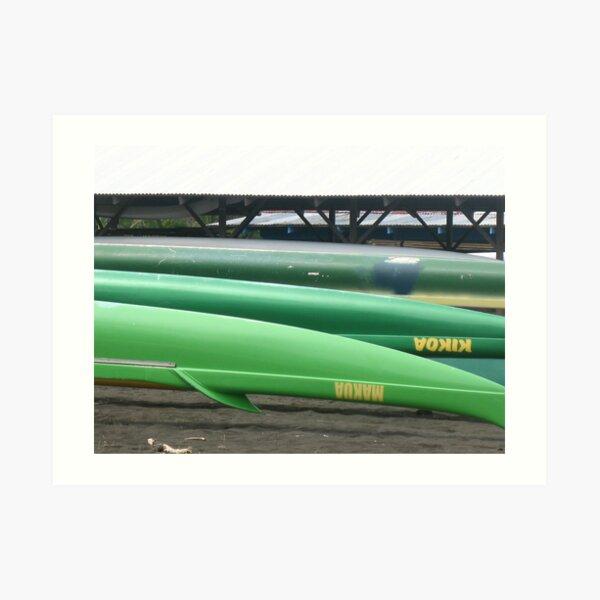 Green Canoes Art Print