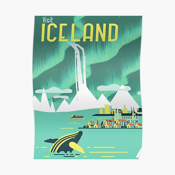 VINTAGE ICELAND TRAVEL Poster, Visit Iceland Travel Art Poster or Canvas Print, Vintage Travel Posters Poster