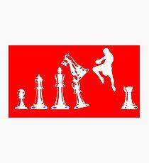 Kickboxing Chess Jumping Knee White  Photographic Print