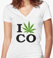 I Marijuana Colorado Women's Fitted V-Neck T-Shirt