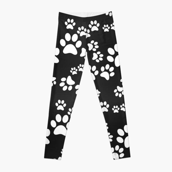 BLACK PAW PATTERN MONOCHROME CATS DOGS Leggings