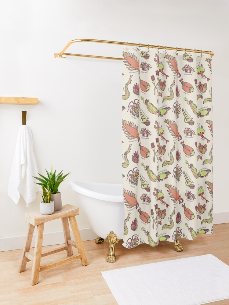 Alternate view of Cambrian Critters Shower Curtain