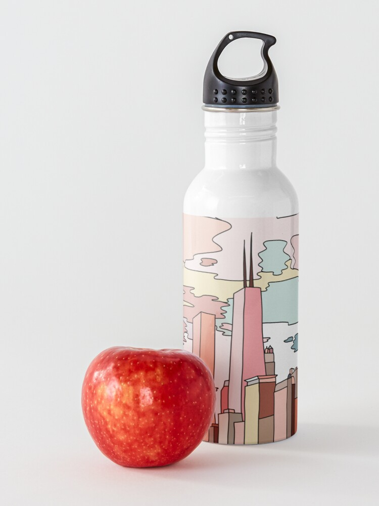 Alternate view of Chicago sunset by Sasa Elebea Water Bottle