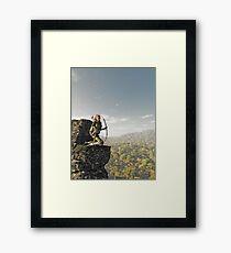 Blonde Female Elf Archer above the Forest Framed Print