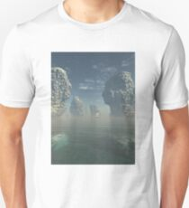 Sailing Ship and Giant Sea Stacks Unisex T-Shirt