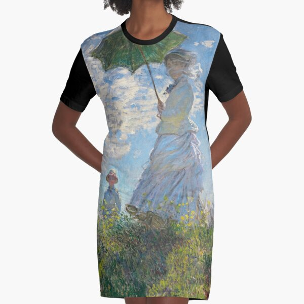 MONET, Claude, Artist, Art, Painter, Oil Painting, Canvas, Woman with a Parasol, Madame Monet and Her Son, 1875. Graphic T-Shirt Dress