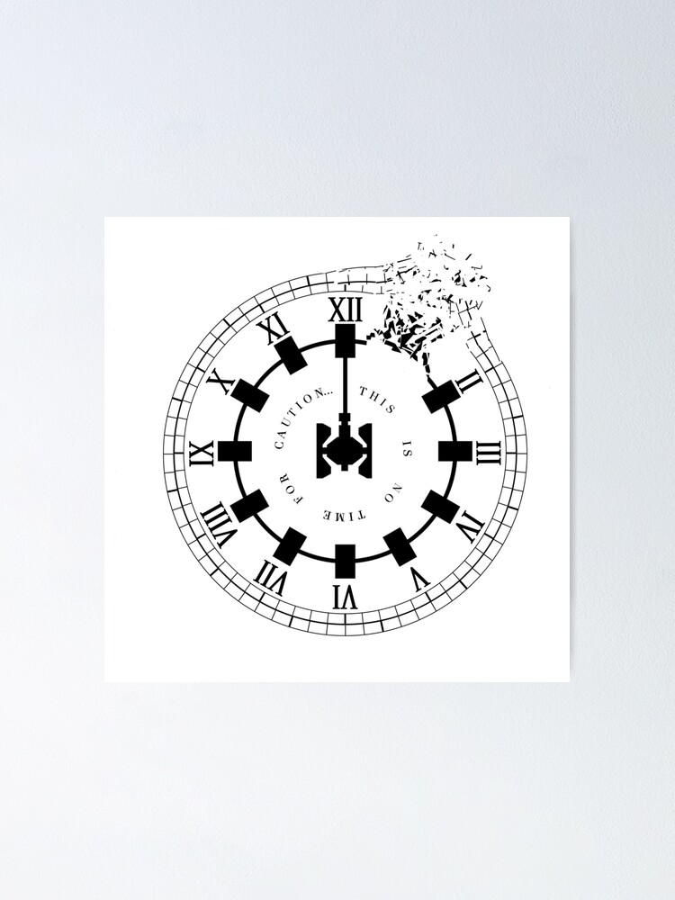 Interstellar No Time For Caution Endurance Shattered Clock Design Poster By Tja3200 Redbubble
