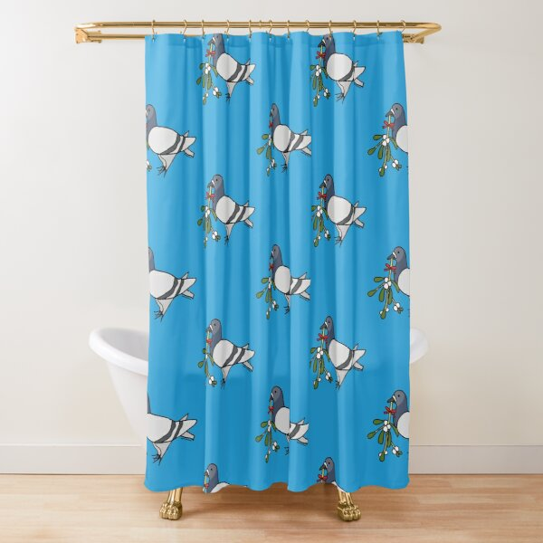 Christmas Mistletoe Fred the Pigeon Shower Curtain