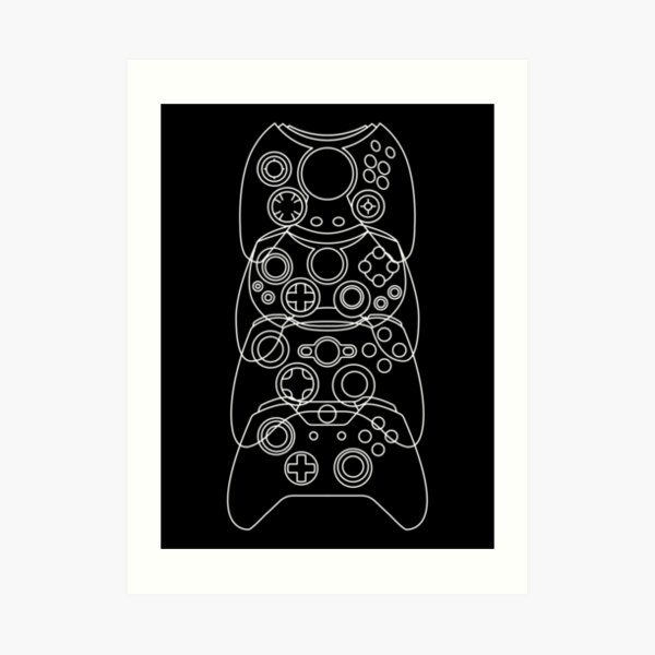 Xbox Controller Evolution (White Lines) Art Print