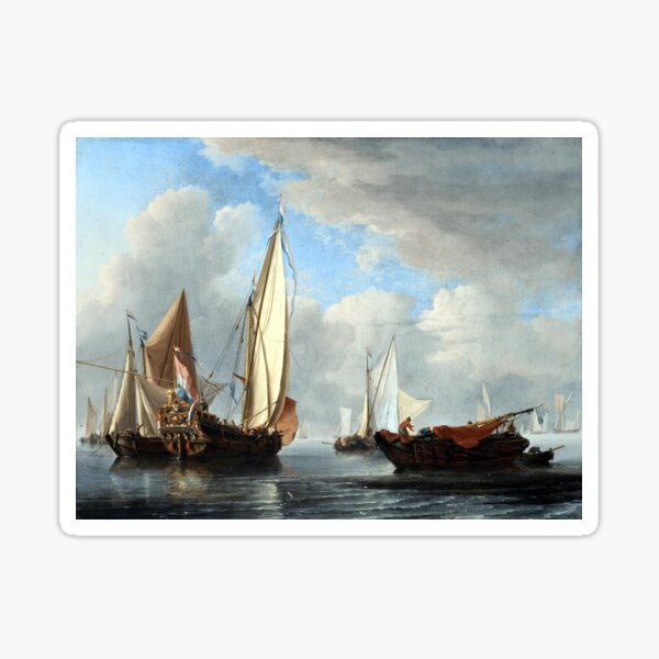 Willem van de Velde the Younger A Yacht and Other Vessels in a Calm Sticker