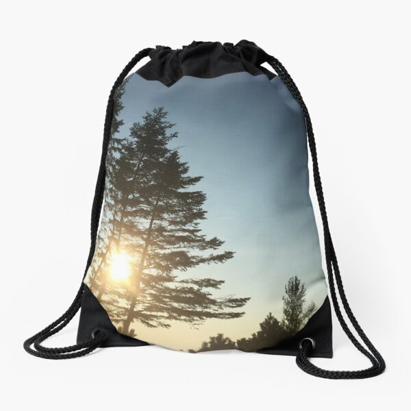 Chill of a Pine Sunset Drawstring Bag