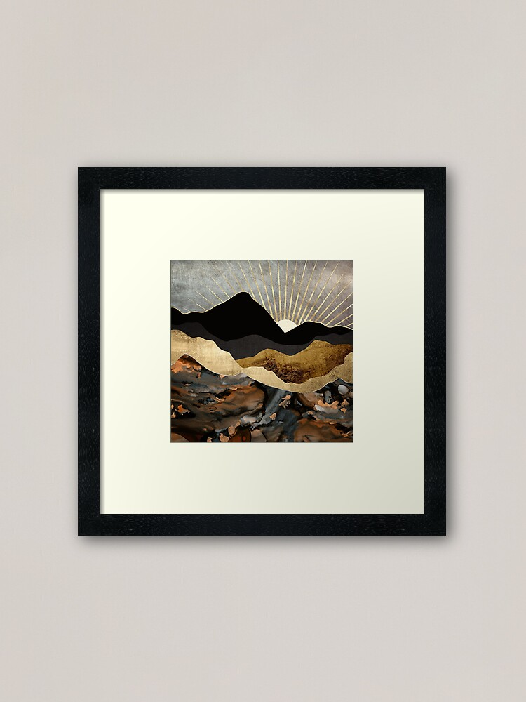 Alternate view of Copper and Gold Mountains Framed Art Print