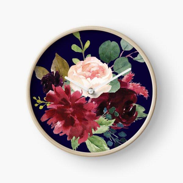 Navy, Burgundy and Blush Floral Art with Eucalyptus Clock