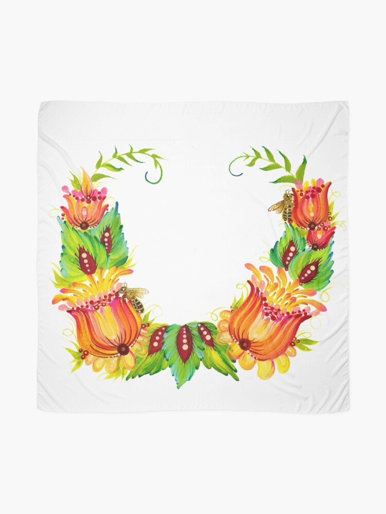 Alternate view of Bees on Flowers Petrykivka Style Scarf