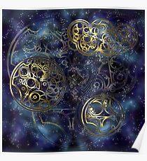 Spacey Tardis Circular Gallifreyan design  Poster