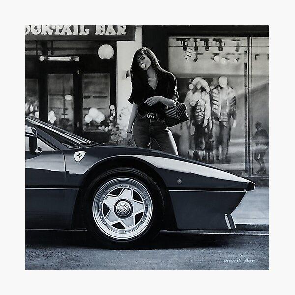 Miss Ferrari. 288 GTO Bubble gum Photographic Print