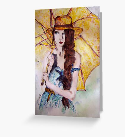 In a yellow, rainy day Greeting Card