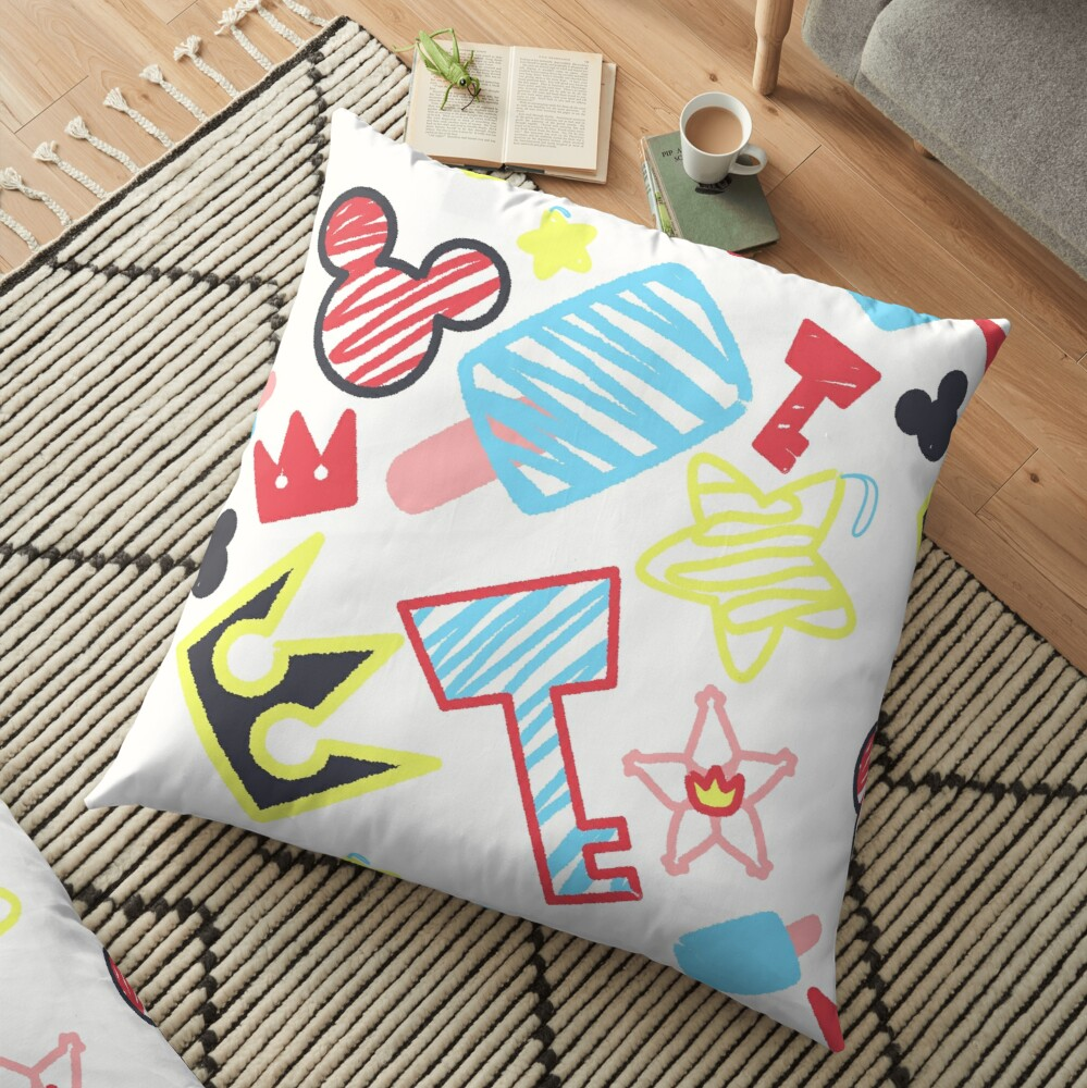 Kingdom Hearts crayon style drawings Floor Pillow