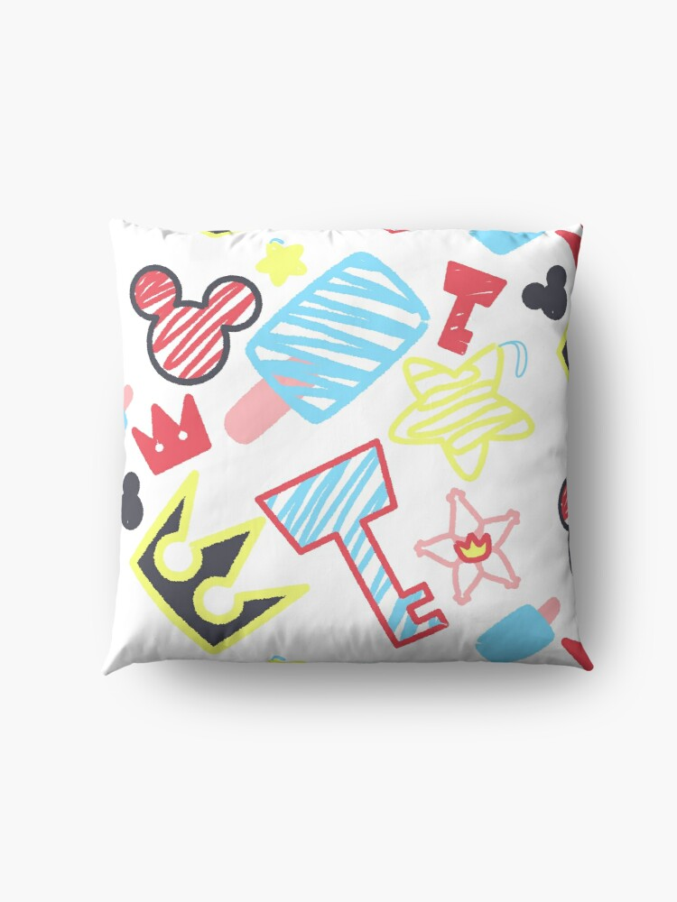 Alternate view of Kingdom Hearts crayon style drawings Floor Pillow