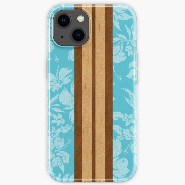 Sunset Beach Hawaiian Faux Koa Wood Surfboard - Aqua iPhone Soft Case