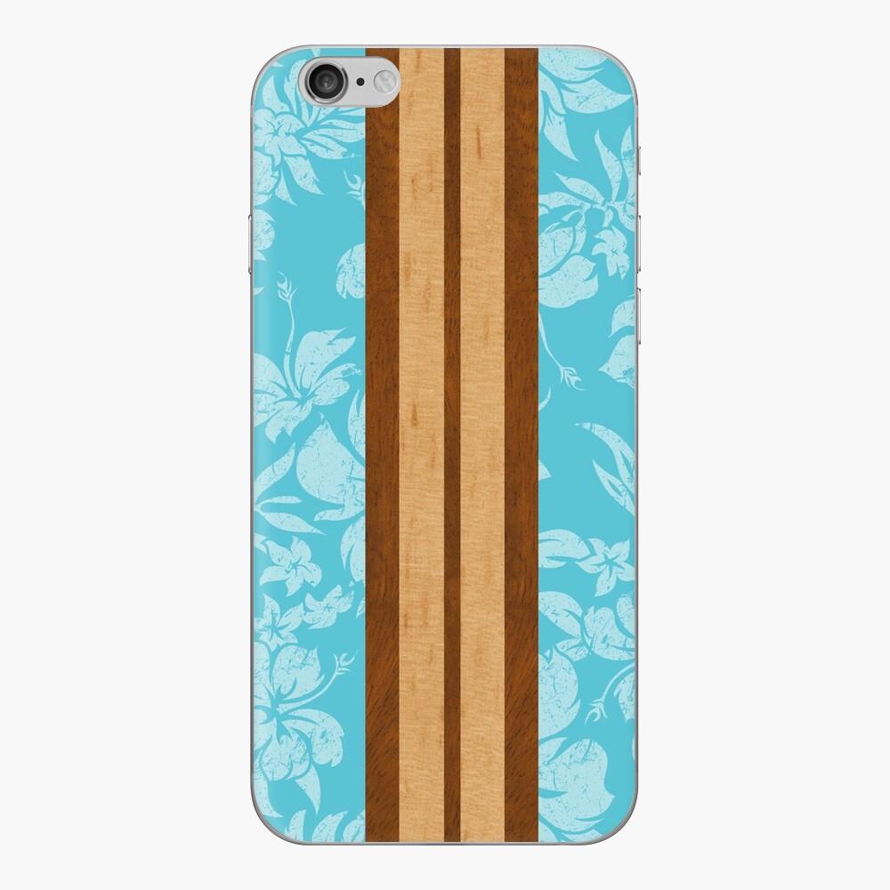 Sunset Beach Hawaiian Faux Koa Madera Tabla de surf - Aqua Vinilo para iPhone