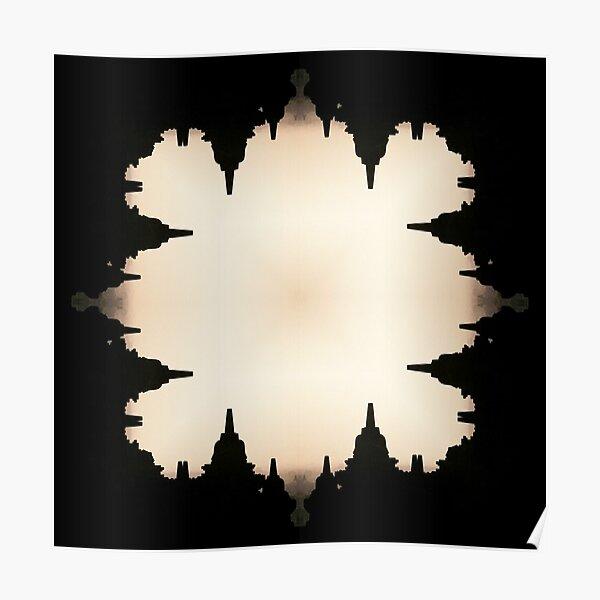 Borobudur Kaleidoscopic Sunrise Temple Pattern Poster