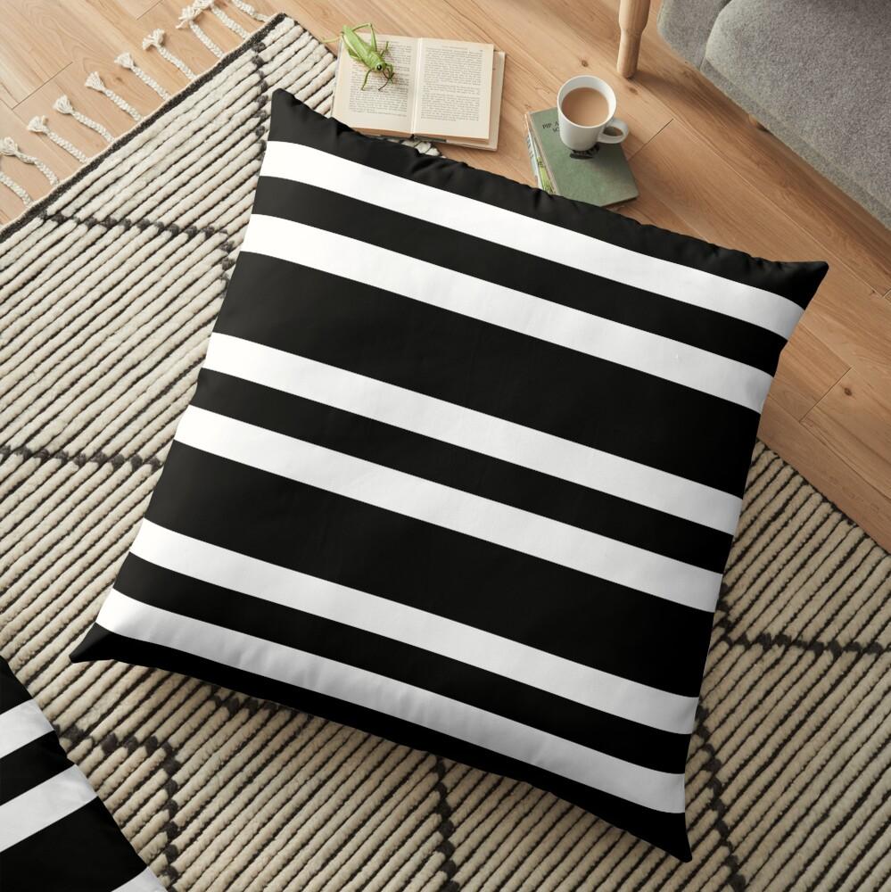 Black and white modern stripe pattern Floor Pillow