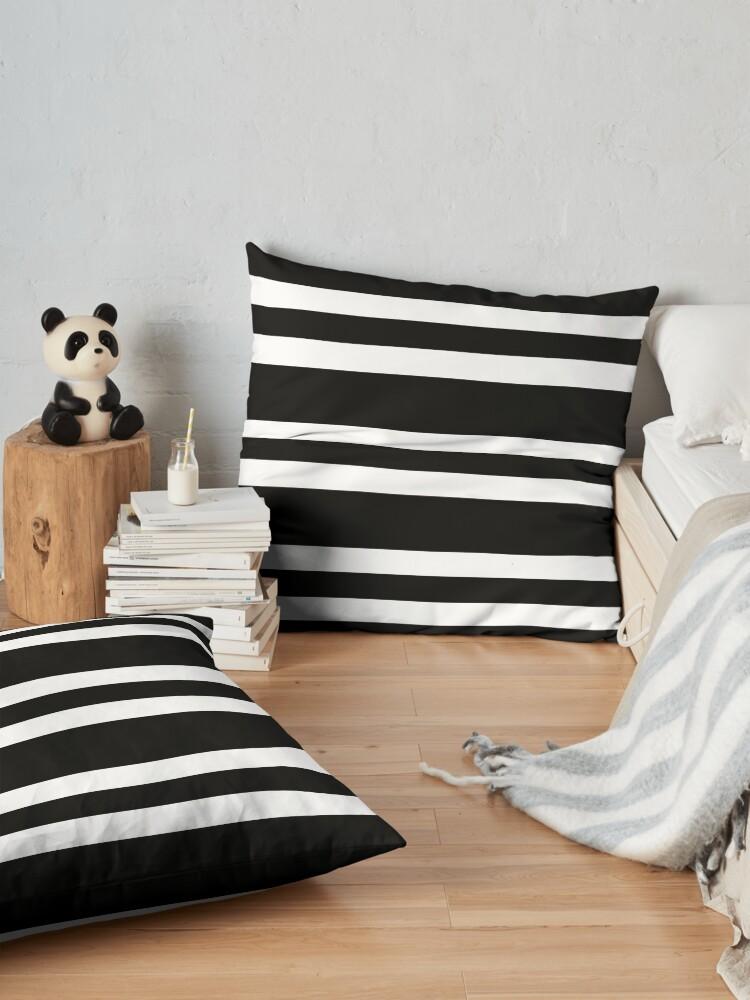 Alternate view of Black and white modern stripe pattern Floor Pillow