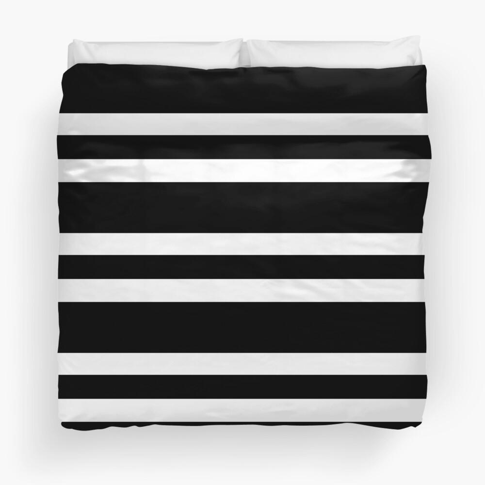 Black and white modern stripe pattern Duvet Cover