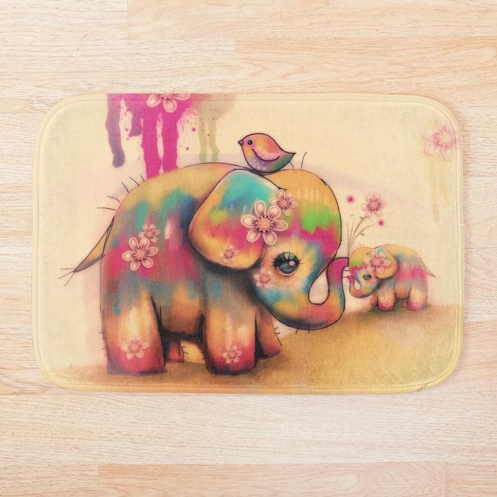 vintage tie dye elephants Bath Mat
