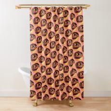 Chocolate Donut Pattern - Pink Shower Curtain
